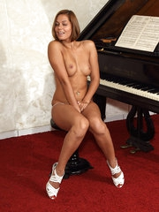 Cipriana Plays the Piano with Spine grizzle demand single widely of White Tights - 6/22/2012