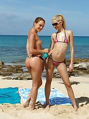 Bikini Babe Franziska Licks Blue Angel's Snatch on a Beach - 8/21/2012