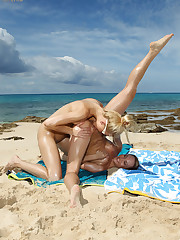 Bikini Babe Franziska Licks Blue Angel's Snatch on a Beach - 8/21/2012