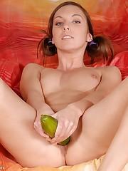 Nicol loves a big fat cucumber.