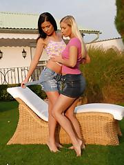 Cute teen backyard lesbians