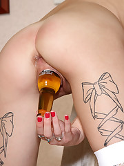 Faye Runaway Shoves Entire Beer Bottle Into Her Pussy - 7/24/2012